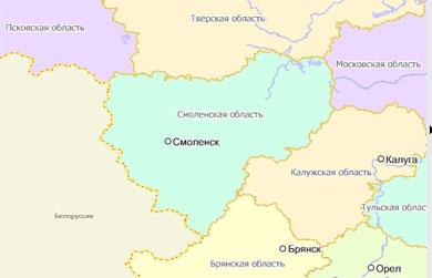 Где находится на карте смоленск